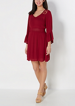Burgundy Daisy Illusion Bell Sleeve Dress