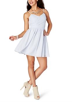 Light Blue Chiffon Cross-Front Dress