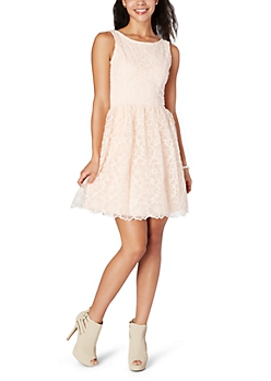 Light Pink Floral Crochet Dress