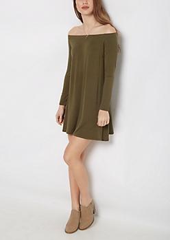 Dark Olive Off Shoulder Swing Dress