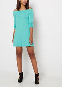 Mint Off Shoulder Swing Dress