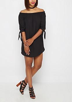 Black Tie Sleeve Off-Shoulder Dress