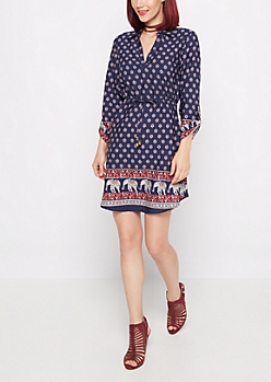 Border Folklore Shirt Dress