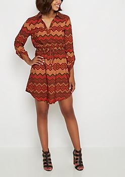 Border Chevron Shirt Dress