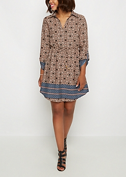 Medallion Boho Shirt Dress