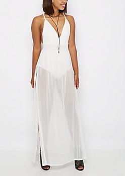 White Bodysuit Mesh Maxi Dress