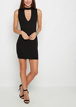 Black Bar Neck Ponte Mini Dress