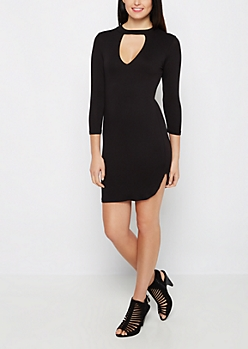 Cutout Mock Neck Bodycon Dress