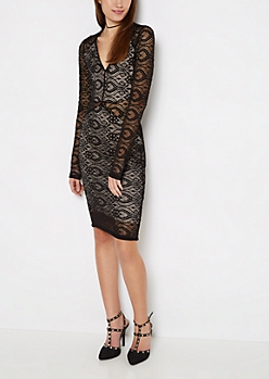 Black Lace V-Neck Cutout Bodycon Dress