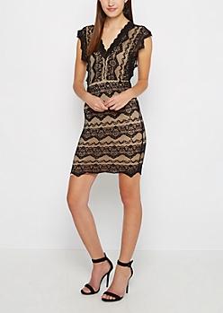 Black Geo Lace Bodycon Dress
