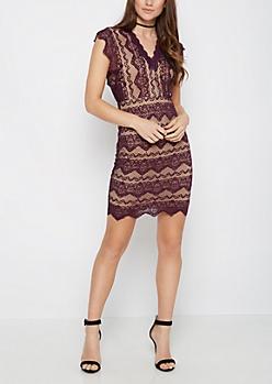Plum Geo Lace Bodycon Dress