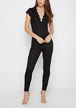 Black Lined Lace V-Neck Jumpsuit