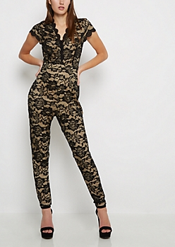 Black & Tan Lined Lace V-Neck Jumpsuit