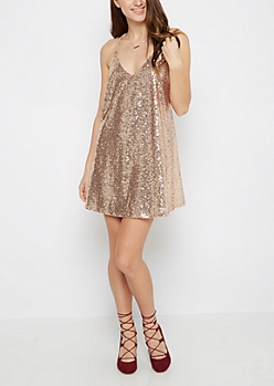 Gold Criss-Cross Strap Sequined Swing Dress