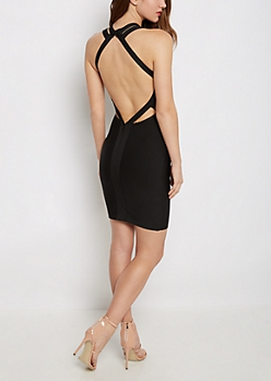 Black Caged Bodycon Dress