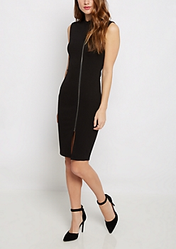 Zip-Down Midi Dress