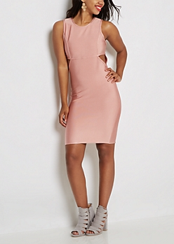 Pink Cutout Waist Knit Bodycon Dress