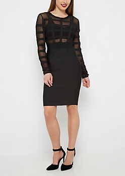 Black Mesh Banded Bodycon Dress