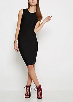 Black Shadow Striped Bodycon Dress