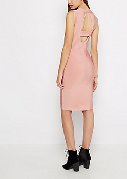 Pink Keyhole Back Bodycon Dress