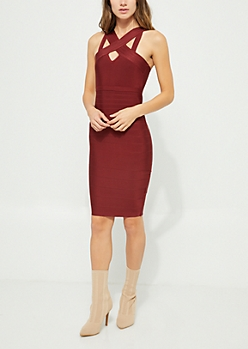 Burgundy Cross Bandage Midi Dress