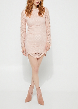Light Pink Crocheted Lace Scallop Dress