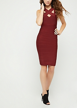 Burgundy Bandage Mini Dress