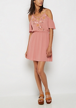 Floral Stitched Surplice Dress