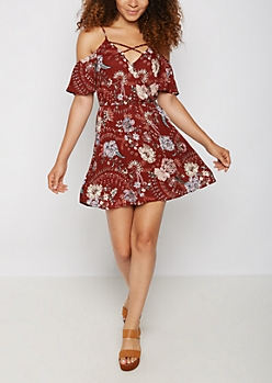 Folk Floral Surplice Cold Shoulder Dress