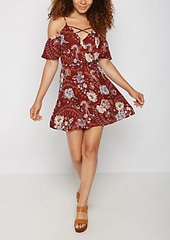 Folk Floral Surplice Cold Shoulder Dress