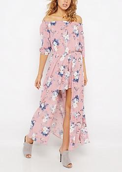 Pink Floral Off-Shoulder Maxi Romper