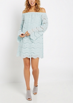 Light Blue Lace Off-Shoulder Lace Dress