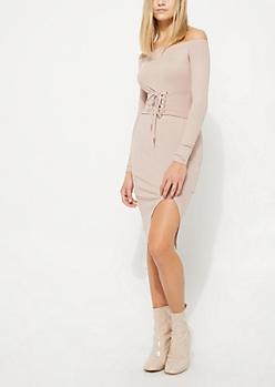 Pink Corset Off Shoulder Sweater Dress