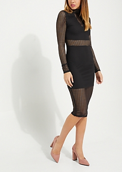 Black Exploded Mesh Bodycon Dress