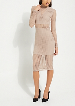 Pink Exploded Mesh Bodycon Dress