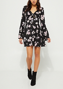 Black Floral Knot Front Skater Dress