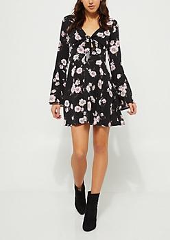 Black Floral Knot Front Skater Dress