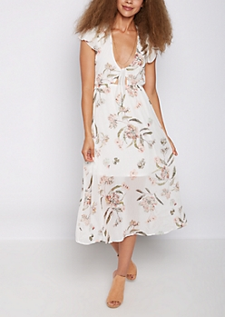 White Floral Tie Front Maxi Dress