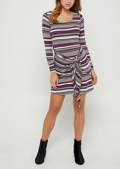 Striped Knotted Skirt Dress