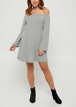 Gray Rib Knit Off Shoulder Swing Dress