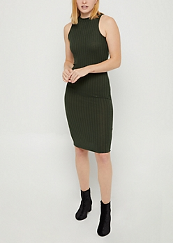 Rib Knit Mock Neck Bodycon Dress