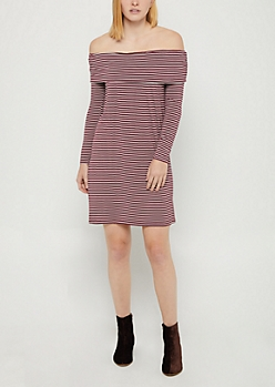 Burgundy Striped Off Shoulder Flounce Dress