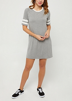 Heather Gray Varsity Swing Dress