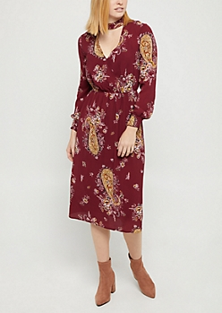 Burgundy Boho Floral Keyhole Dress