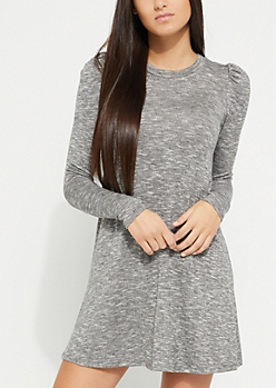 Heather Gray Puffed Shoulder Swing Dress