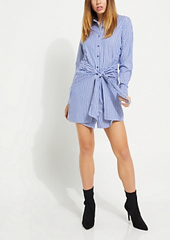 Blue Pinstriped Tie Waist Shirt Dress