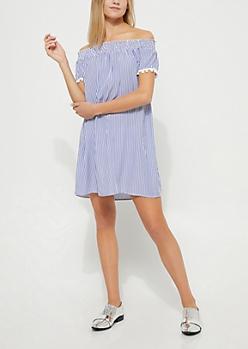 Pinstriped Off-The-Shoulder Pom Pom Dress