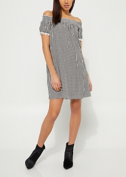 Gingham Off-The-Shoulder Pom Pom Dress
