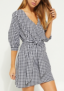 Black Buffalo Plaid Bubble Sleeve Wrap Dress