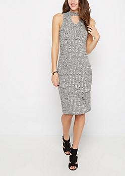 Marled Rib Knit Keyhole Dress